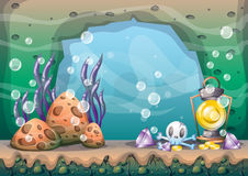 Cartoon vector underwater treasure background with separated layers for game art and animation. Game design asset in 2d graphic Stock Photo