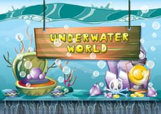Cartoon vector underwater treasure background with separated layers for game art and animation. Game design asset in 2d graphic Royalty Free Stock Photography