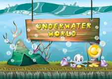 Cartoon vector underwater treasure background with separated layers for game art and animation. Game design asset in 2d graphic Royalty Free Stock Image