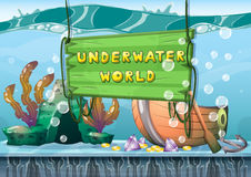 Cartoon vector underwater treasure background with separated layers for game art and animation game. Design asset in 2d graphic Royalty Free Stock Photography