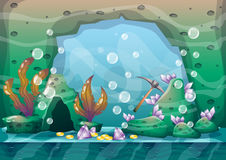 Cartoon vector underwater treasure background with separated layers for game art and animation game. Design asset in 2d graphic Stock Photography