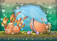 Cartoon vector underwater treasure background with separated layers for game art and animation game. Design asset in 2d graphic Stock Images