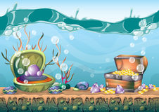 Cartoon vector underwater treasure background with separated layers for game art and animation game. Design asset in 2d graphic Royalty Free Stock Photo
