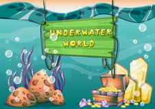 Cartoon vector underwater treasure background with separated layers for game art and animation game. Design asset in 2d graphic Stock Photos