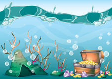 Cartoon vector underwater treasure background with separated layers for game art and animation game. Design asset in 2d graphic Royalty Free Stock Photos