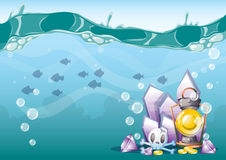 Cartoon vector underwater treasure background with separated layers for game art and animation game. Design asset in 2d graphic Royalty Free Stock Image