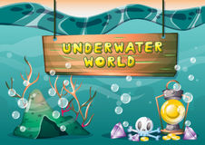 Cartoon vector underwater treasure background with separated layers for game art and animation game. Design asset in 2d graphic Stock Photo