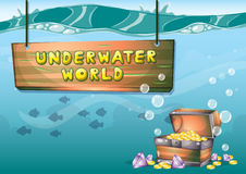 Cartoon vector underwater treasure background with separated layers for game art and animation game. Design asset in 2d graphic Royalty Free Stock Images