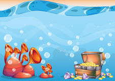 Free Cartoon Vector Underwater Treasure Background With Separated Layers For Game Art And Animation Game Stock Photos - 79306003