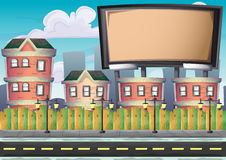 Cartoon vector urban billboard with separated layers for game and animation Royalty Free Stock Photo