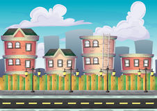 Cartoon vector urban landscape with separated layers Royalty Free Stock Photo