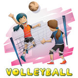 Cartoon vector volleyball sport with separated layers for game and animation Stock Images