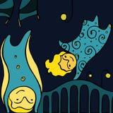 Cartoon vector wallpaper with  fairies flying. Hand drawn girly boyish texture: kids flying at night in dreams Stock Photos