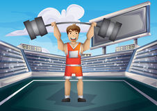 Cartoon vector weightlifting sport with separated layers for game and animation Royalty Free Stock Photos