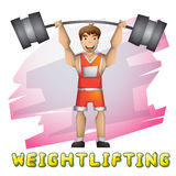 Cartoon vector weightlifting sport with separated layers for game and animation Stock Photo