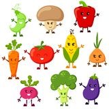 Cartoon vegetable characters. Tomato, broccoli, eggplant, peppers, carrots, onion, radish, corn, peas, champignon. Cartoon vegetable characters. Vector Stock Image