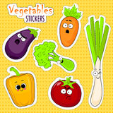 Cartoon vegetable cute characters face stickers. Royalty Free Stock Photos