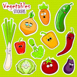 Cartoon vegetable cute characters face stickers. Stock Photos