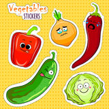 Cartoon vegetable cute characters face stickers. Stock Image