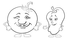 Character tomato and pepper Royalty Free Stock Images
