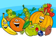 Cartoon vegetable and fruit characters Stock Image