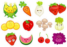 Cartoon vegetable and fruits Royalty Free Stock Photo