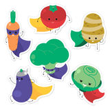 Cartoon vegetable superheroes. Funny vegetable face icon collect. Ion. Isolated on white background  illustration Royalty Free Stock Photo