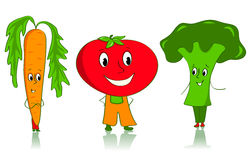 Cartoon vegetables characters. Carrot, tomato and broccoli. Isolated on white Stock Photography