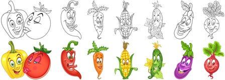 Cartoon Vegetables set stock photography