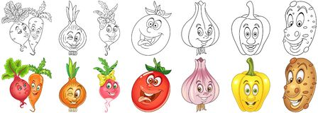 Cartoon Vegetables set royalty free stock photo