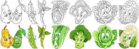 Cartoon Vegetables set royalty free stock image