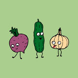 Cartoon vegetables: cucumber, radish and garlic Stock Photo