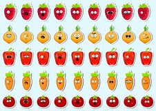 Cartoon vegetables cute character face sticker. royalty free stock photography