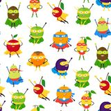 Cartoon Vegetables and Fruit Superhero Characters Seamless Pattern Background. Vector stock illustration