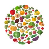 Cartoon vegetables and fruits Stock Photography