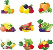 Cartoon vegetables and fruits icons,vector Stock Photos