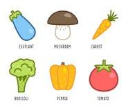 Cartoon vegetables and fruits Stock Photos