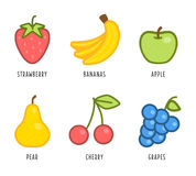 Cartoon vegetables and fruits Stock Photo