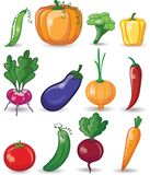 Cartoon vegetables and fruits,vector Royalty Free Stock Photography