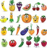 Cartoon vegetables and fruits,vector Royalty Free Stock Image