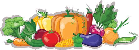 Cartoon vegetables and fruits,vector Stock Image