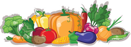 Cartoon vegetables and fruits,vector Stock Photography