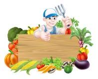 Cartoon Vegetables Gardener Sign Stock Image