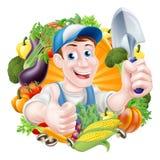 Cartoon Vegetables Gardener Stock Images