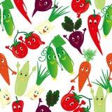 Cartoon vegetables pattern seamless. Stock Photo
