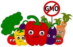 Cartoon vegetables say no to gmo concept illustration Stock Photos