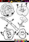 Cartoon vegetables set for coloring book Royalty Free Stock Images