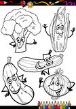 Cartoon vegetables set for coloring book Stock Photos