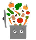 Cartoon vegetables for soup and pot funny illustration Stock Photo