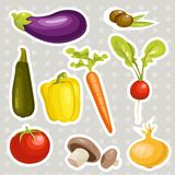 Cartoon vegetables stickers Royalty Free Stock Images